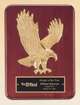 Rosewood Piano Finish Plaque with Gold Eagle Casting Eagle Awards